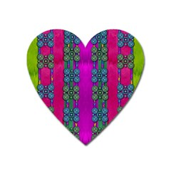 Flowers In A Rainbow Liana Forest Festive Heart Magnet by pepitasart