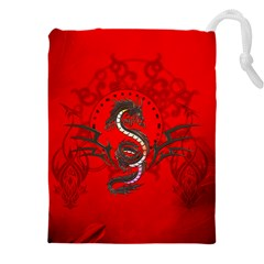 Chinese Dragon On Vintage Background Drawstring Pouch (5xl)