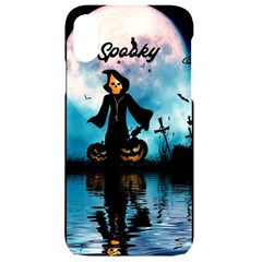 Funny Halloween Design With Skeleton, Pumpkin And Owl Iphone Xr Black Uv Print Case by FantasyWorld7
