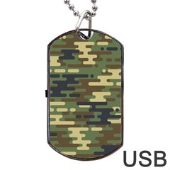 Curve Shape Seamless Camouflage Pattern Dog Tag Usb Flash (one Side)