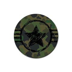Military Camouflage Design Rubber Round Coaster (4 Pack)