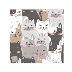 Hand Draw Cats Seamless Pattern Small Satin Scarf (square)
