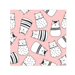 Cute Cats Cartoon Seamless Pattern Small Satin Scarf (square)