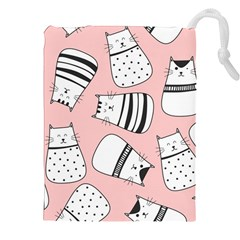 Cute Cats Cartoon Seamless Pattern Drawstring Pouch (2xl)