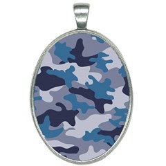 Military Seamless Pattern Oval Necklace