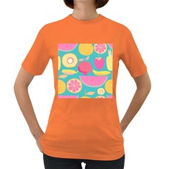 Seamless Pattern With Fruit Vector Illustrations Gift Wrap Design Women s Dark T-shirt