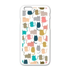 Cute Seamless Pattern Happy Kitty Kitten Cat Iphone 6/6s White Enamel Case