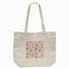 Cute Cat Coffee Cup Morning Times Seamless Pattern Tote Bag (cream)