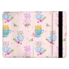 Cute Cat Coffee Cup Morning Times Seamless Pattern Samsung Galaxy Tab Pro 12 2  Flip Case