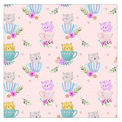 Cute Cat Coffee Cup Morning Times Seamless Pattern Large Satin Scarf (square)