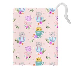 Cute Cat Coffee Cup Morning Times Seamless Pattern Drawstring Pouch (4xl)