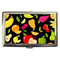 Vector Seamless Summer Fruits Pattern Black Background Cigarette Money Case