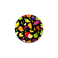 Vector Seamless Summer Fruits Pattern Black Background Golf Ball Marker (4 Pack)