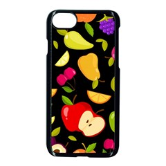 Vector Seamless Summer Fruits Pattern Black Background Iphone 8 Seamless Case (black)