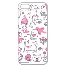 Set Kawaii Doodles Apple Seamless Iphone 5 Case (clear)