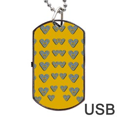 Butterfly Cartoons In Hearts Dog Tag Usb Flash (two Sides) by pepitasart