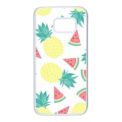 Vector Seamless Pattern With Pineapples Samsung Galaxy S7 White Seamless Case