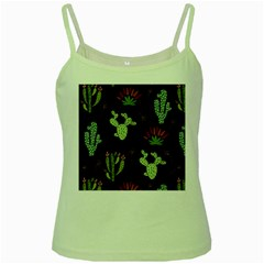 Cartoon African Cactus Seamless Pattern Green Spaghetti Tank