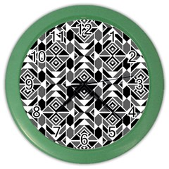 Graphic Design Decoration Abstract Seamless Pattern Color Wall Clock