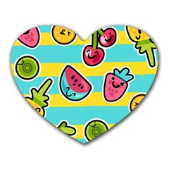 Summer Fruits Patterns Heart Mousepads by Vaneshart