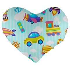 Transport Toy Seamless Pattern Large 19  Premium Heart Shape Cushions