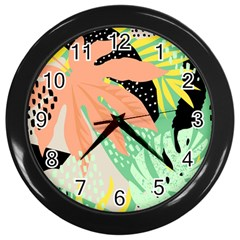 Abstract Seamless Pattern With Tropical Leaves Hand Draw Texture Vector Wall Clock (black) by Vaneshart