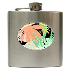 Abstract Seamless Pattern With Tropical Leaves Hand Draw Texture Vector Hip Flask (6 Oz)