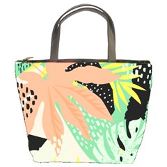Abstract Seamless Pattern With Tropical Leaves Hand Draw Texture Vector Bucket Bag