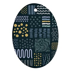 Mixed Background Patterns Ornament (oval)