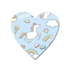 Unicorn Seamless Pattern Background Vector Heart Magnet by Sobalvarro