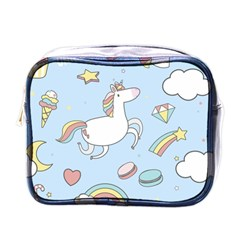 Unicorn Seamless Pattern Background Vector Mini Toiletries Bag (one Side) by Sobalvarro