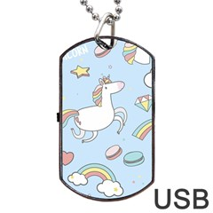 Unicorn Seamless Pattern Background Vector Dog Tag Usb Flash (one Side) by Sobalvarro