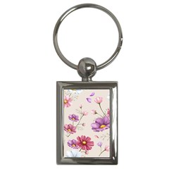 Vector Hand Drawn Cosmos Flower Pattern Key Chain (rectangle) by Sobalvarro