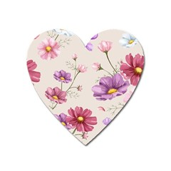 Vector Hand Drawn Cosmos Flower Pattern Heart Magnet by Sobalvarro
