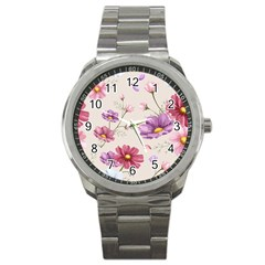 Vector Hand Drawn Cosmos Flower Pattern Sport Metal Watch by Sobalvarro