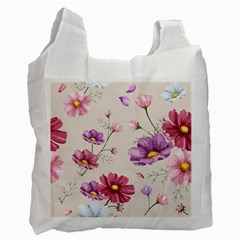Vector Hand Drawn Cosmos Flower Pattern Recycle Bag (one Side) by Sobalvarro