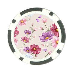 Vector Hand Drawn Cosmos Flower Pattern Poker Chip Card Guard (10 Pack) by Sobalvarro