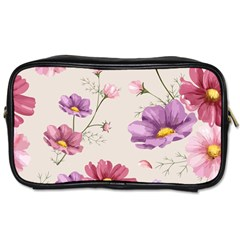 Vector Hand Drawn Cosmos Flower Pattern Toiletries Bag (two Sides) by Sobalvarro