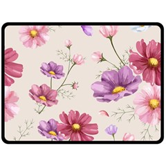 Vector Hand Drawn Cosmos Flower Pattern Double Sided Fleece Blanket (large)  by Sobalvarro