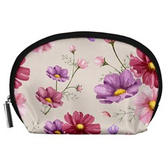 Vector Hand Drawn Cosmos Flower Pattern Accessory Pouch (large) by Sobalvarro