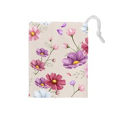 Vector Hand Drawn Cosmos Flower Pattern Drawstring Pouch (medium)