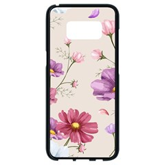 Vector Hand Drawn Cosmos Flower Pattern Samsung Galaxy S8 Black Seamless Case by Sobalvarro