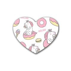Unicorn Seamless Pattern Background Vector (1) Rubber Coaster (heart)  by Sobalvarro