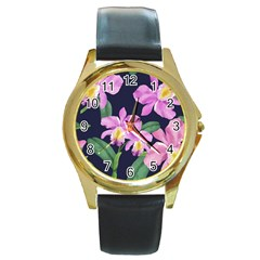 Vector Hand Drawn Orchid Flower Pattern Round Gold Metal Watch by Sobalvarro