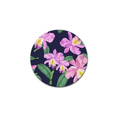 Vector Hand Drawn Orchid Flower Pattern Golf Ball Marker (4 Pack) by Sobalvarro