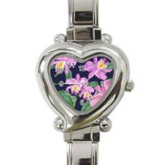 Vector Hand Drawn Orchid Flower Pattern Heart Italian Charm Watch by Sobalvarro