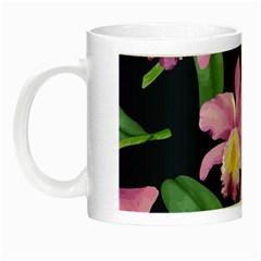 Vector Hand Drawn Orchid Flower Pattern Night Luminous Mugs by Sobalvarro