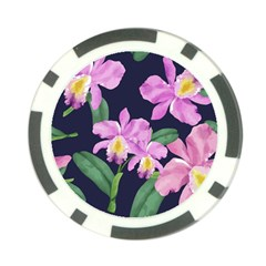 Vector Hand Drawn Orchid Flower Pattern Poker Chip Card Guard (10 Pack) by Sobalvarro