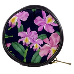 Vector Hand Drawn Orchid Flower Pattern Mini Makeup Bag by Sobalvarro