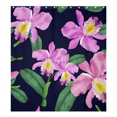 Vector Hand Drawn Orchid Flower Pattern Shower Curtain 66  X 72  (large)  by Sobalvarro